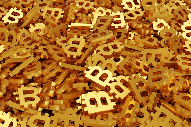 Fundo de símbolos de bitcoin dourado.