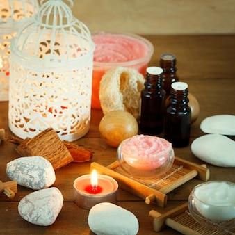 Fundo de spa com velas e tratamento
