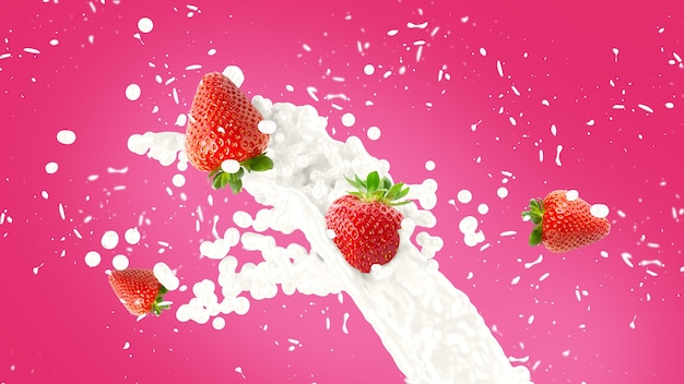 Fundo de splash de milkshake de morango