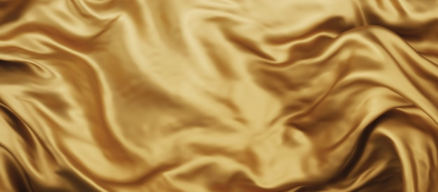 Fundo de tecido de luxo dourado com espaço de cópia renderização 3d
