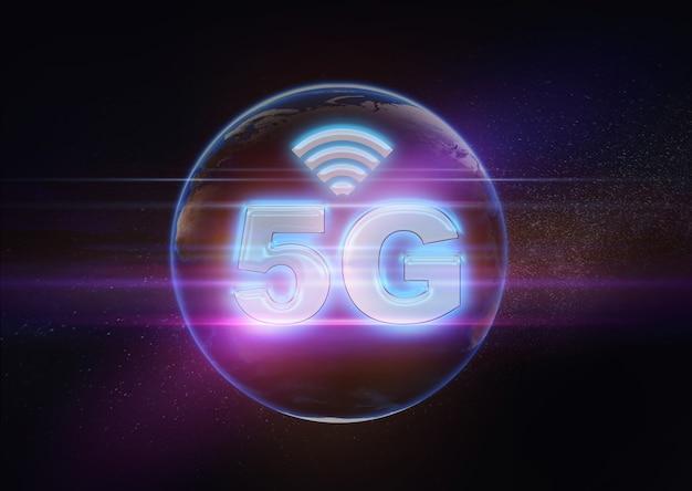 Fundo de tecnologia 5g avançada, conceito abstrato 5g ilustração 3d, big data de internet