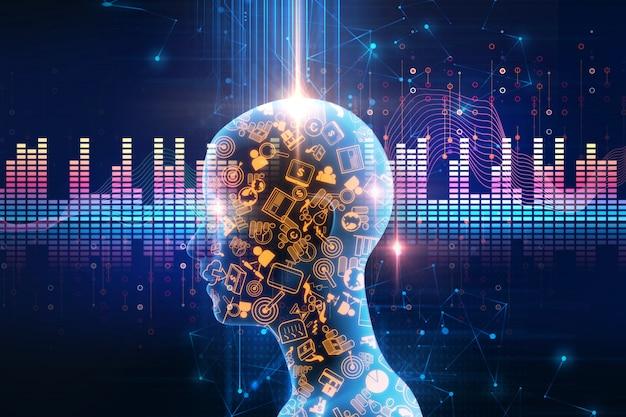 Fundo de tecnologia abstrata de forma de onda de áudio
