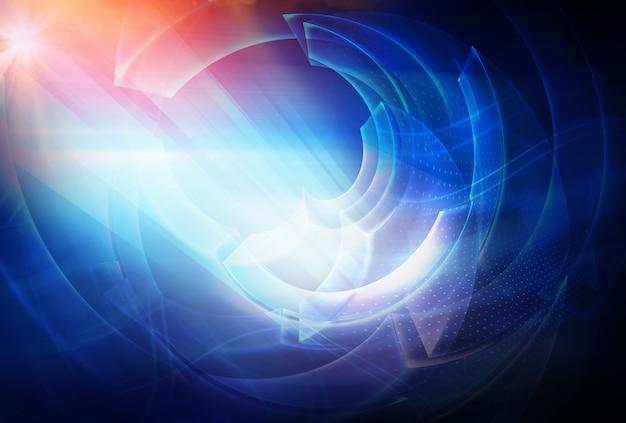 Fundo de tecnologia abstrata digital com raios de luz e sol flare