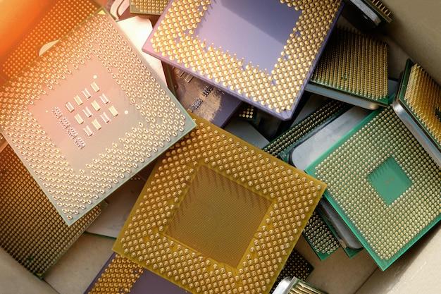 Fundo de tecnologia antiga processador de chip de cpu