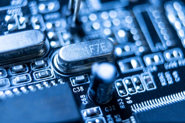 Fundo de tecnologia azul de alto ângulo