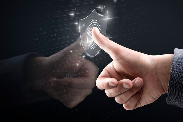 Fundo de tecnologia biométrica com sistema de digitalização de impressão digital em remix digital de tela virtual