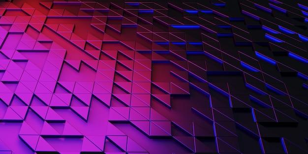 Fundo de tecnologia de brilho de abstração geométrica de pixel de triângulo estruturas complexas renderização 3d