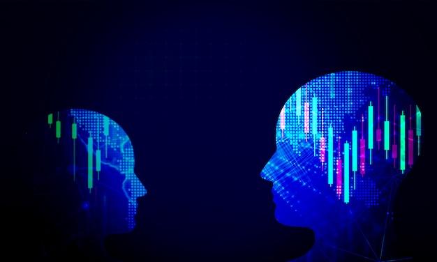 Fundo de tecnologia de cabeça humana. conceito de negociação de investimento