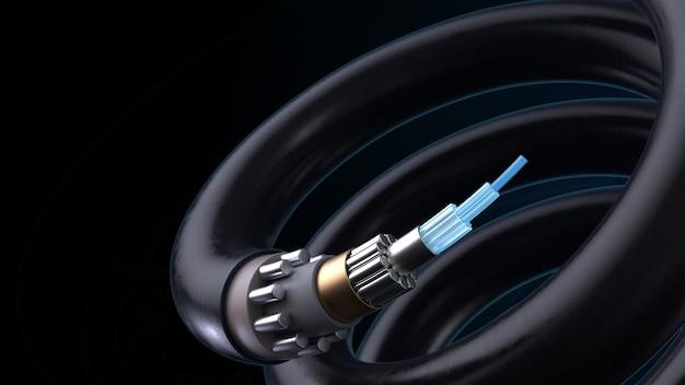 Fundo de tecnologia de renderização 3d. conceito de cabo de fibra ótica para internet com estrutura complexa.