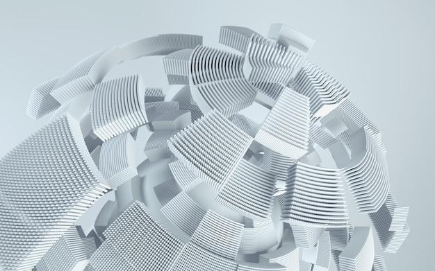 Fundo de tecnologia de renderização 3d. forma abstrata em movimento.