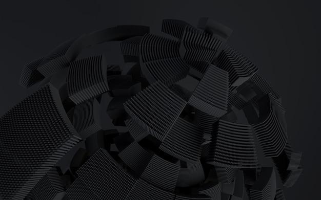 Fundo de tecnologia de renderização 3d. forma abstrata preta em movimento.