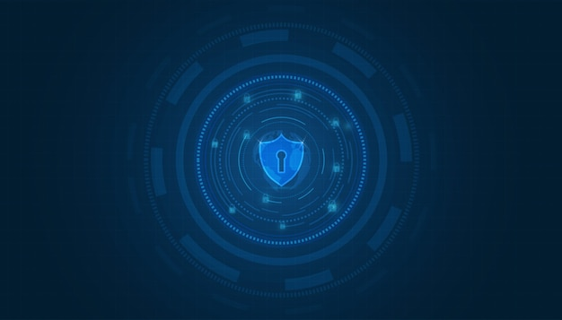 Fundo de tecnologia de segurança conceito de segurança cibernética ícone de escudo com fechadura em fundo azul