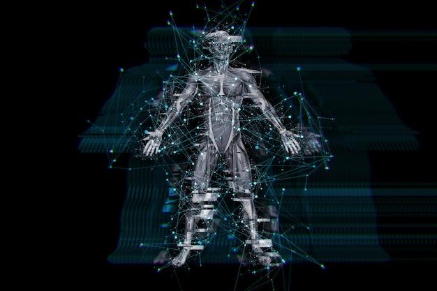Fundo de tecnologia digital 3d com efeito de falha na figura médica masculina