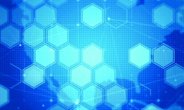 Fundo de tecnologia digital de hexágono