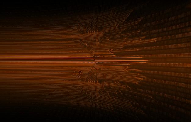 Fundo de tecnologia futura do circuito binário cibernético laranja
