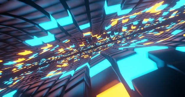 Fundo de tecnologia hyper loop., renderização em 3d.