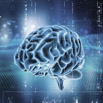 Fundo de tecnologia médica 3d com cérebro