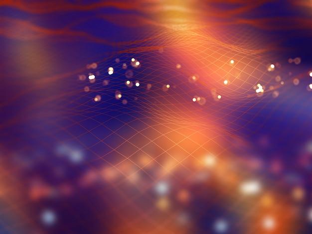 Fundo de tecnologia moderna 3d com linhas fluidas de conexão
