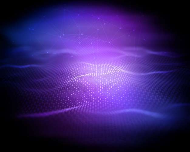 Fundo de tecnologia moderna 3d, paisagem digital wireframe