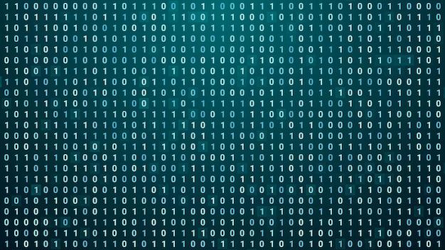Fundo de tela de dados binários digitais aleatórios, ilustração de tecnologia de código de programação de computador futurista abstrata