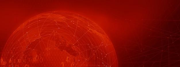 Fundo de tema vermelho cadeia de bloco gráfico com linhas de conexão e códigos binários