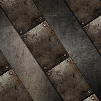 Fundo de textura 3d grunge com design de placa de metal
