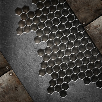 Fundo de textura 3d grunge com vários elementos de metal