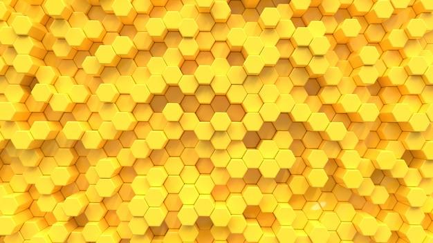 Fundo de textura amarela do hexágono. 3d rendem.