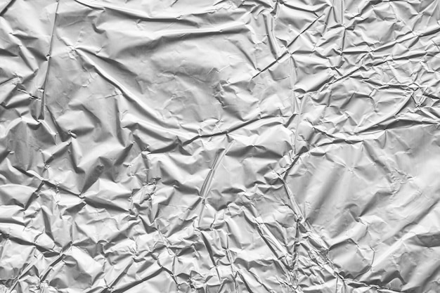 Fundo de textura amassada de folha de metal cinza prata brilhante