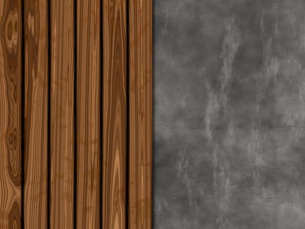 Fundo de textura com madeira velha e concreto