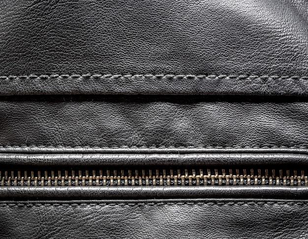Fundo de textura de couro preto detalhado close up de couro
