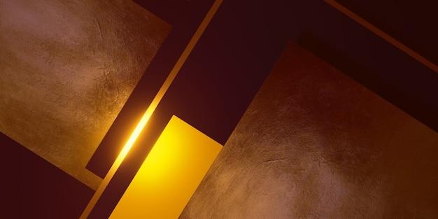 Fundo de textura de folha de ouro moldura preta e amarela nível do chão ilustração 3d poderosa e elegante