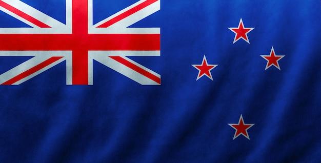 Fundo de textura de onda de seda de tecido de bandeira de nova zelândia, ilustração 3d.