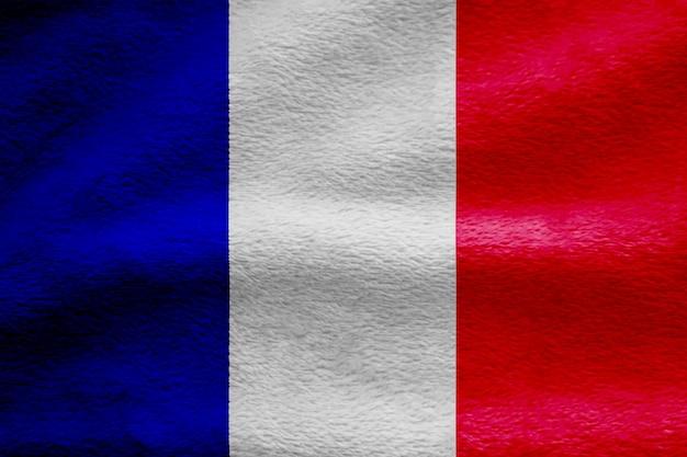 Fundo de textura de onda de tecido de bandeira de frança, ilustração 3d.