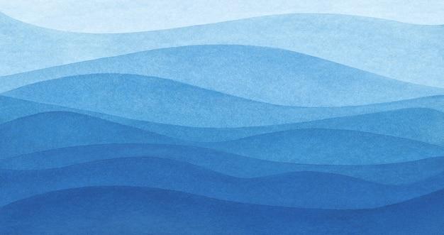 Fundo de textura de ondas do mar em aquarela abstrata azul