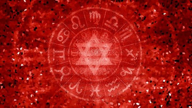 Fundo de textura de padrão de horóscopo de astrologia vermelha do zodíaco, design gráfico