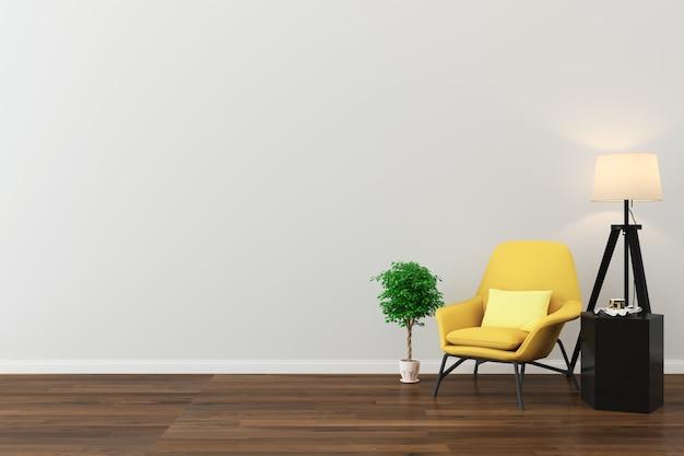 Fundo de textura de parede piso de madeira cadeira amarela