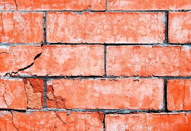 Fundo de textura de parede rachada de tijolo horizontal