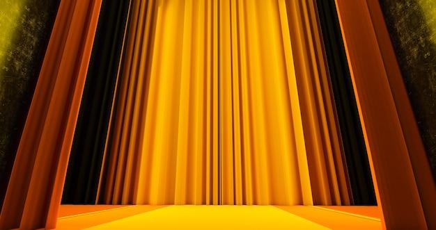 Fundo de textura de tecido amarelo dourado, o caminho para a glória, renderização 3d