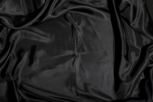 Fundo de textura de tecido de seda preto
