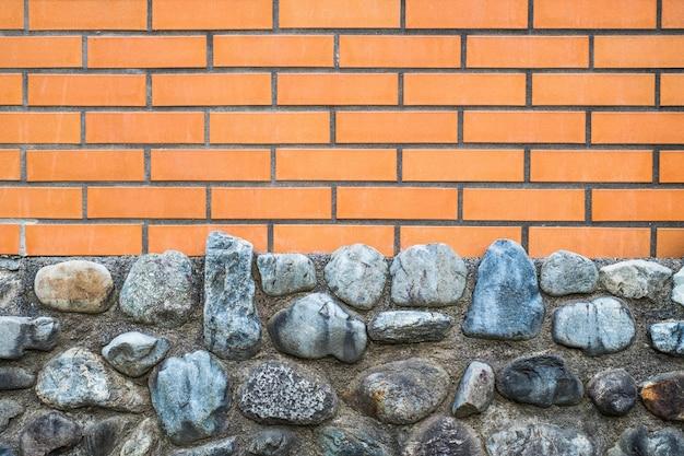 Fundo de tijolo de textura de telha de parede e parede de pedra