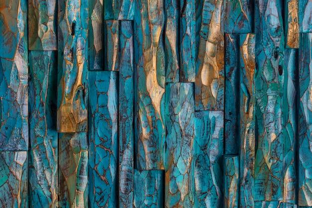 Fundo de tinta de madeira dourada e azul