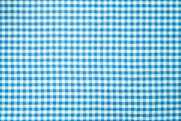 Fundo de toalha de mesa quadriculada azul