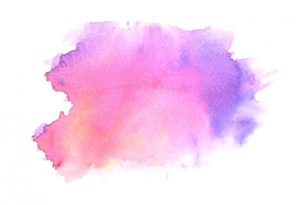 Fundo de traço de tinta aquarela mancha roxa