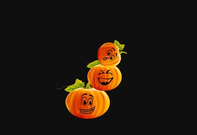Fundo de três abóboras engraçadas de halloween