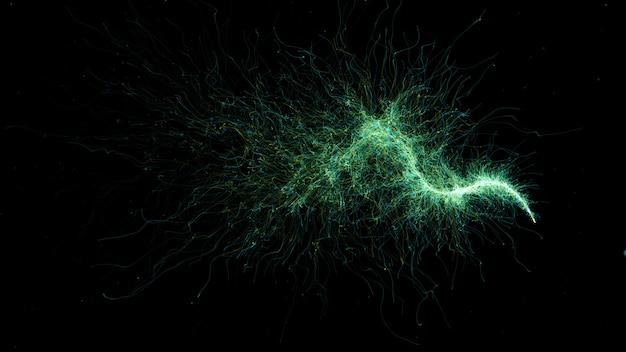 Fundo de trilha de partículas renderizado 3d. estrutura de partículas detalhada abstrata. as partículas são emitidas de um ponto que forma a trajetória da onda.
