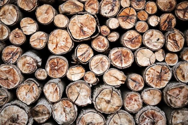 Fundo de troncos de madeira empilhada