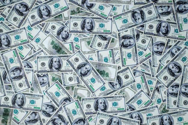 Fundo de um 100 dólares, vista superior, lay plana