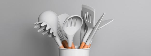 Fundo de utensílios de cozinha com copyspace, conceito de decoração de cozinha em casa, utensílios de cozinha, acessórios de borracha no recipiente. restaurante, culinária, culinária, tema de cozinha. espátulas e escovas de silicone