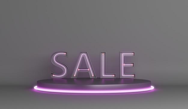 Fundo de venda black friday com pódio de exibição de texto com luz de néon